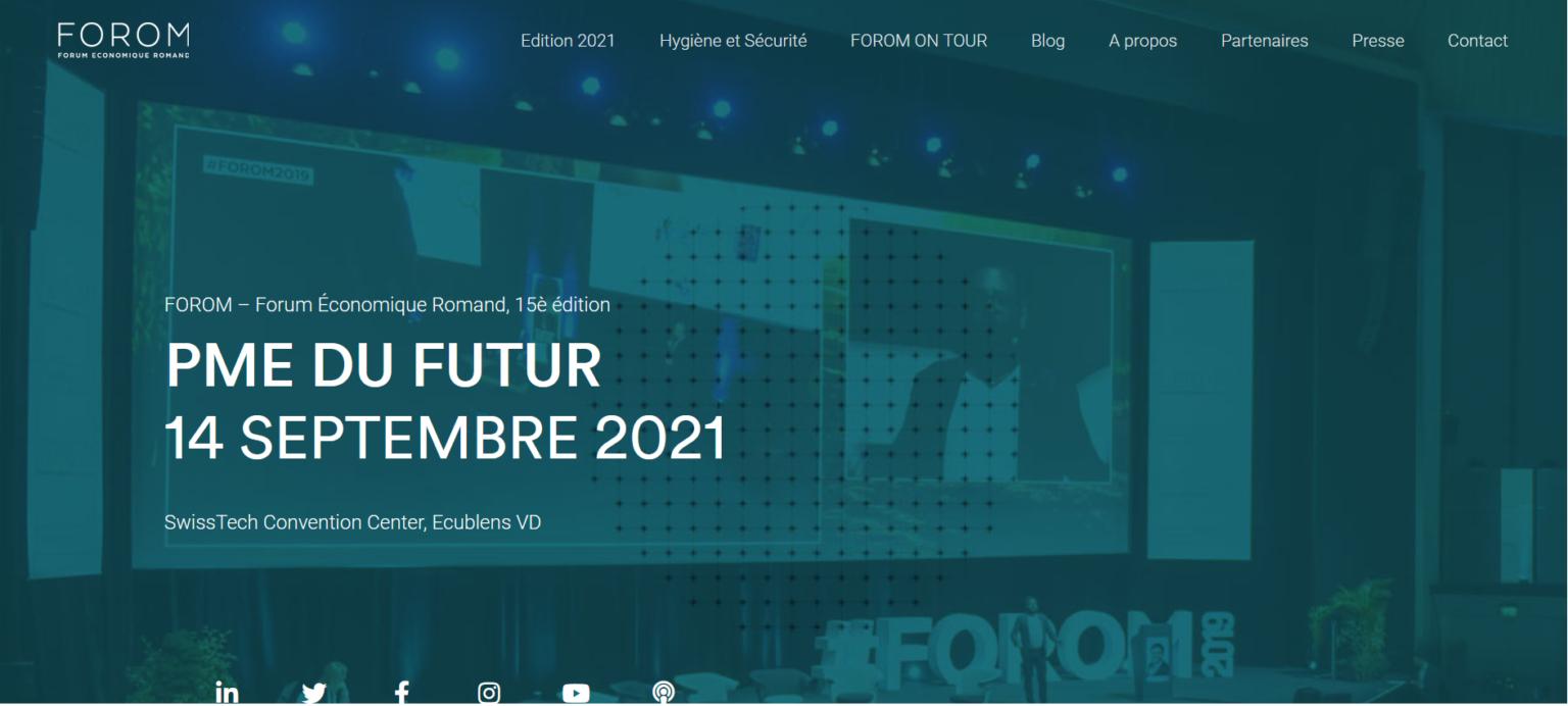 Acadys International au FOROM économique Romand  « PME du futur » – le 14/09/2021 à Lausanne